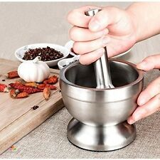 Mortar And Pestle Stainless Set Large Guacamole Professional Kitchen Pharmacy