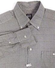 Ike Behar Mens Dress Shirt M Medium Gray Black Houndstooth Button Collar Cotton