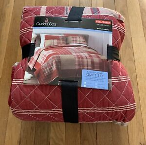 Cuddl Duds Full Queen Heavyweight Red Patchwork Flannel Quilt Reversable Plaid