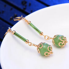 Womens Jewellery Yellow Gold Filled Green crystal Ball Long Dangle Earrings