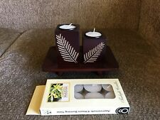 New 12cmTall Wood Candle Holder With Tealight Candle HE11