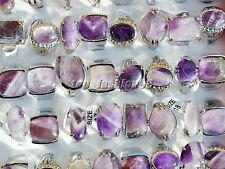 wholesale lots jewelry resale 10pcs Charm Natural Amethyst stone silver P ring