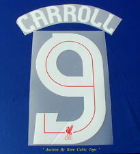 Rare Liverpool FC European Player Issue ' Carroll 9 ' Name & Number Set