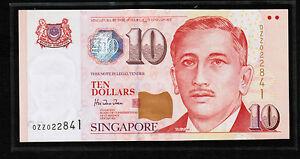 1999 SINGAPORE $10 Portrait Series Commemorative ( Replacement)Note ZZ xxxxx UNC