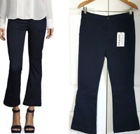 FRAME Women's Le Crop Mini Boot Pants Cropped Chinos Navy Blue