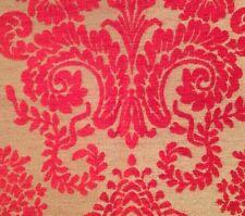 DESIGNERS GUILD Ferrara Red Raised Velvet Floral Remnant New