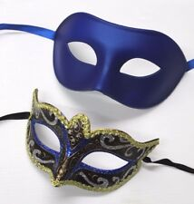 HIS N HERS PAIR COUPLES BLUE AND GOLD VENETIAN MASQUERADE PARTY PROM EYE MASKS