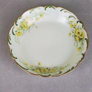 Limoges Plate 1894-1914 yellow flower design gilded gold rim