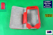 Brand NEW Leather Flip Case Cover Protector Red - Suits iPhone 4 4S 4G (C179)