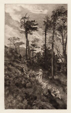 "Pretty George Heming Mason 1800s Antique Etching ""Blackberry Pickers"" Framed COA"