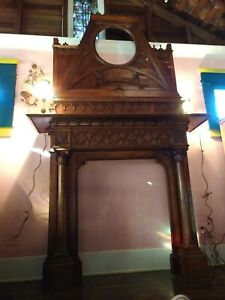 Antique Carved Walnut french Gothic, Renaissance Fireplace Mantel