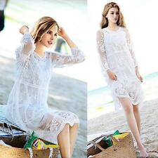 Women LONG SUN DRESS PEASANT BOHO MAXI WHITE Lace Crochet HIPPIE GYPSY Ball Gown