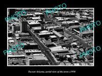 OLD POSTCARD SIZE PHOTO TUCSON ARIZONA AERIAL VIEW OF THE TOWN c1950