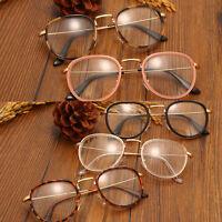 Men Women Clear Lens Eyeglasses Oversized Frame Retro Round Eyewear Nerd Glasses