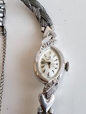 Omega Ladies Wrist Watch 14k Solid White Gold Vintage 1960s Diamond Jewelry