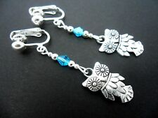 A PAIR OF  TIBETAN SILVER DANGLY OWL & BLUE CRYSTAL  CLIP ON EARRINGS. NEW.