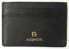 Aigner Kreditkartenetui Etui klein kompakt flach Leder schwarz Kartenetui