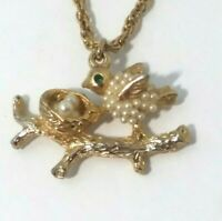 "VTG Bird On Branch NEST Pendant Necklace GOLD Seed Pearl RHINESTONE 19"" CHAIN"