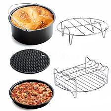 5Pcs Home Air Fryer Accessories Set Baking Basket Pizza Pan Plate Grill Pot Mat