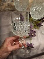 Diamond Point Clear Water Goblets Indiana Glass Co 6 Wine Glasses Vintage 6 1/2""