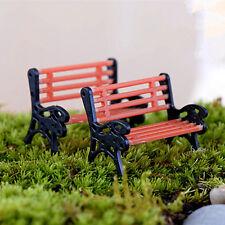 Mini Ornament Miniature Park Seat Garden Bench Craft Fairy Dollhouse Decor