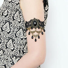 Womens Gothic Layer Pearl Drop Stone Rose Flower Lace Armband Armlet Bracelet