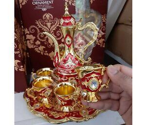 NEW TURKISH Jewelled Ornament STYLE METAL ZAM ZAM 8PC DRINKING SET