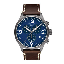 Tissot Chrono XL Brown Leather Strap Blue Dial Swiss Mens Watch T1166173604700