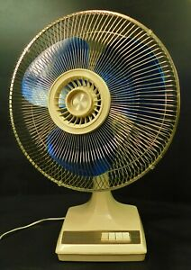 Vintage JCPenny Type 16-1 16 Inch 3 Speed Oscillating Blue Blade Fan