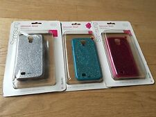 Olo set of 3 Silver Pink Teal Glitter Case & LCD Protector for Samsung Galaxy S4