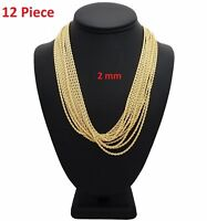 """New 12 Piece Rope Chain Necklace 2mm 20"""" inch 14k Gold Plated Wholesale Lot"""