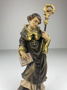 Heiligenfigur Skulptur Heiliger Bernhard geschnitzt farbig gefasst selten