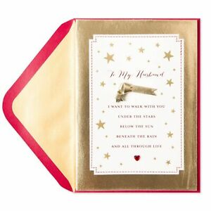 """PAPYRUS Husband """"Walk with you Under the Stars"""" leather Valentine Day Card $8.95"""