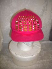 NICKI MINAJ Hot Pink Baseball Cap Hat Sz Med Gold Brads KISS PRETTY GANG Adj Tab