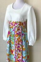 Vintage Maxi Dress 70s Polyester Empire Waist Hand Tailored Party Chic Small GC