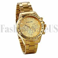 Men's Luxury Gold Tone Stainless Steel Digital Dial Analog Quartz Wrist Watch