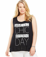 STYLE CO. PLUS SIZE GRAPHIC TANK TOP SAME CHIC BLACK WOMENS 2X