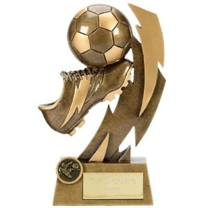 FLASH BOLT FOOTBALL TROPHY PERSONALISED PLAYER/MATCH AWARD *FREE ENGRAVING*