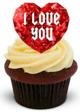 NOVELTY Ruby Heart Red Jewel I LOVE YOU 12 STAND UP Edible Cake Toppers Romantic