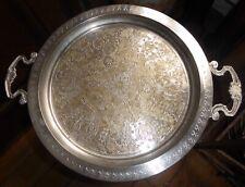 Plateau oriental laiton, cuivre argent Diamètre 38cm