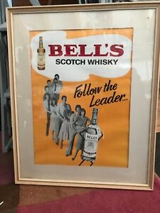 RARE LARGE BELL'S SCOTCH WHISKY 1970'S FOLLOW THE LEADER VINTAGE POSTER