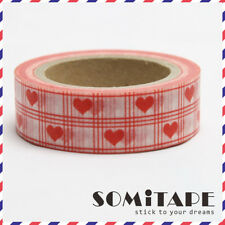 Red Love Hearts Check Pattern Washi Tape, Craft Decorative Tape
