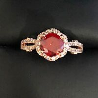 Gorgeous 2.5 Ct Red Ruby Diamond Halo Wedding Ring 14K Rose Gold Plated Jewelry