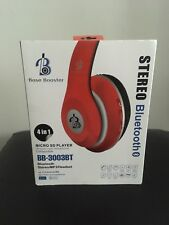 Radio FM Estéreo Auriculares Auricular Bluetooth Mp3 refuerzo de la Base Roja Reproductor De Micro