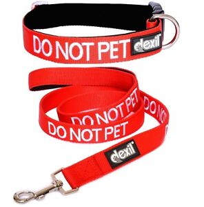 DO NOT PET Dog Collar & Leash Set Red Padded Adjustable S M L XL Super Strong