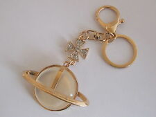 HANDBAG BUCKLE CHARM YELLOW GOLD TONE CRYSTAL GLOBUS CRUCIGER KEYRING KEY CHAIN