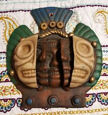 ART FACE WALL MASK PLAQUE SKULL 3D AZTEC