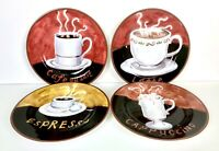 "AMERICAN ATELIER AT HOME ""COFFEE"" 4 PORCELAIN 8""  CANAPE DESSERT SNACK PLATES"