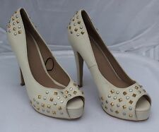 Atmosphere Cream Studded Peep Toes with Platform Size 6/39