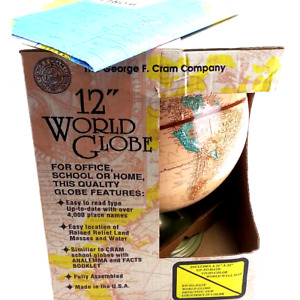 George F Cram 12'' World Globe Vintage USA Made With Map